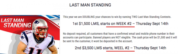 America's Bookie $5000 NFL 2017 Last Man Standing Contest