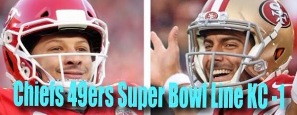 Chiefs vs. 49ers Super Bowl Line: KC -1