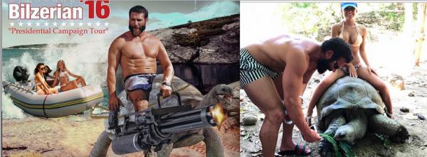 Dan Bilzerian Bikini Babe Rides Tortoise in Shock Pic