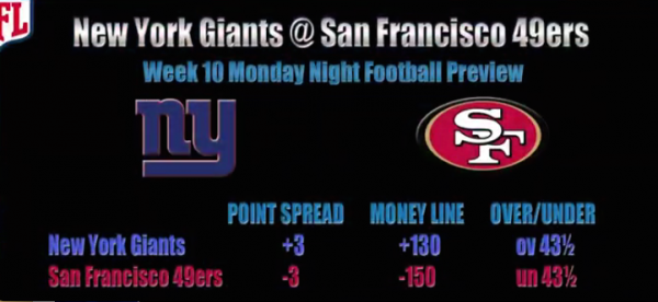 Sunday Night Football Betting Odds Week 11 - Giants vs. 49ers Prediction