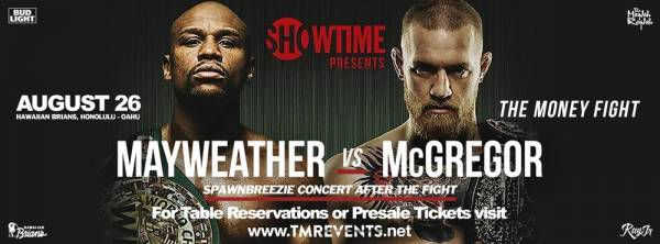 Where Can I Watch, Bet the Mayweather-McGregor Fight Hawaii