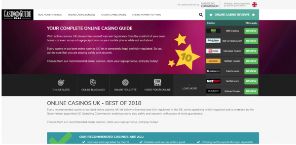 Online casino comparison site CasinoGuide