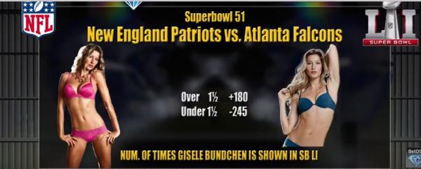 Patriots vs. Falcons Exotic Super Bowl Prop Bets - Giselle Bundchen Sightings, More