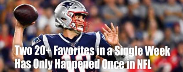 Two 20 Point Favorites in One Week Has Only Happened Once in NFL History